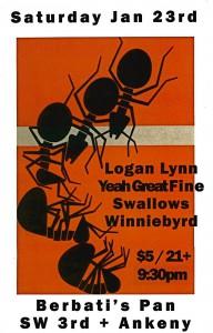 Logan Lynn, Yeah Great Fine, Swallows, Winniebyrd @ Berbati's Pan (1/23/2010)