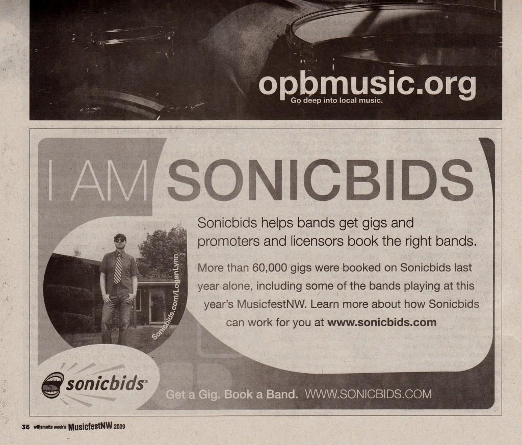 """LOGAN LYNN """"I AM SONICBIDS"""" AD, MFNW GUIDE 2009"""